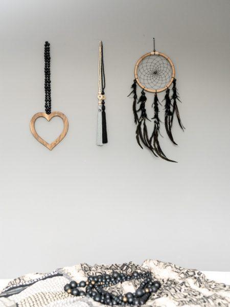 houten hart woonketting, dreamcatcher, lucky coin