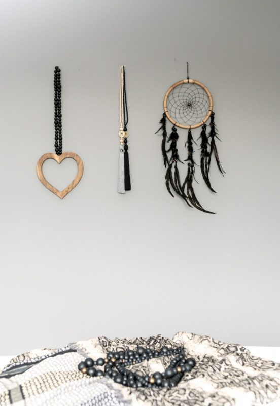 houten hart woonketting, dreamcatcher, lucky coin
